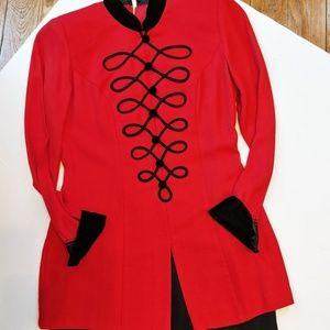 Vintage Petite Sophisticate Red Black Velvet Dress